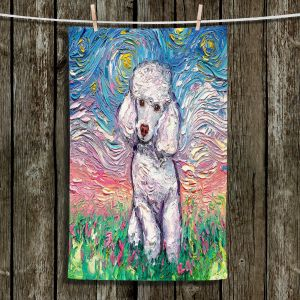 Unique Hanging Tea Towels | Aja Ann - Poodle White | Starry Night Dog Animal