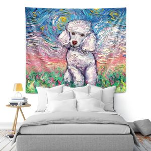 Artistic Wall Tapestry | Aja Ann - Poodle White | Starry Night Dog Animal