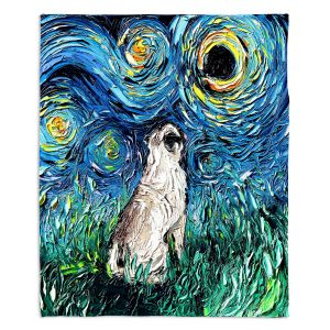 Decorative Fleece Throw Blankets | Aja Ann - Pug | Starry Night Dog Animal