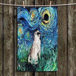 Unique Hanging Tea Towels | Aja Ann - Pug | Starry Night Dog Animal