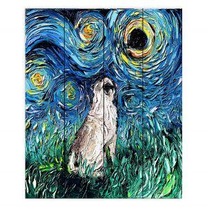 Decorative Wood Plank Wall Art | Aja Ann - Pug | Starry Night Dog Animal