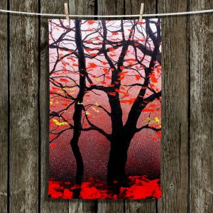 Unique Hanging Tea Towels   Aja Ann - Red Light   Trees Nature