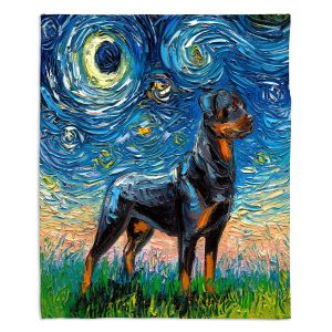 Artistic Sherpa Pile Blankets | Aja Ann - Rottweiller 1 | Starry Night Dog Animal
