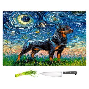 Artistic Kitchen Bar Cutting Boards | Aja Ann - Rottweiller 1 | Starry Night Dog Animal