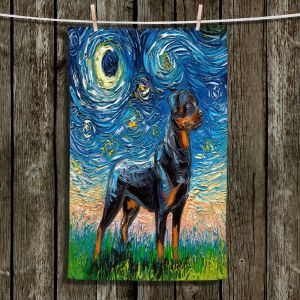 Unique Bathroom Towels | Aja Ann - Rottweiller 1 | Starry Night Dog Animal