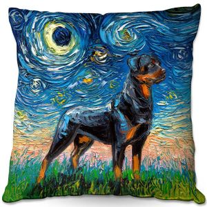 Decorative Outdoor Patio Pillow Cushion | Aja Ann - Rottweiller 1 | Starry Night Dog Animal