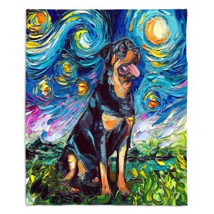 Decorative Fleece Throw Blankets | Aja Ann - Rottweiller 2 | Starry Night Dog Animal