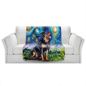 Artistic Sherpa Pile Blankets   Aja Ann - Rottweiller 2   Starry Night Dog Animal