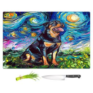 Artistic Kitchen Bar Cutting Boards | Aja Ann - Rottweiller 2 | Starry Night Dog Animal
