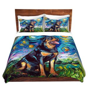 Artistic Duvet Covers and Shams Bedding | Aja Ann - Rottweiller 2 | Starry Night Dog Animal