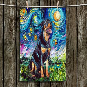 Unique Bathroom Towels | Aja Ann - Rottweiller 2 | Starry Night Dog Animal