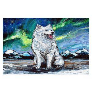 Decorative Floor Covering Mats | Aja Ann - Samoyed Dog | Starry Night Dog Animal