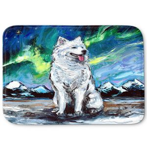 Decorative Bathroom Mats | Aja Ann - Samoyed Dog | Starry Night Dog Animal