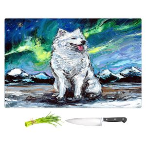 Artistic Kitchen Bar Cutting Boards | Aja Ann - Samoyed Dog | Starry Night Dog Animal