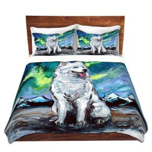 Artistic Duvet Covers and Shams Bedding | Aja Ann - Samoyed Dog | Starry Night Dog Animal