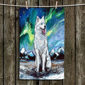 Unique Hanging Tea Towels | Aja Ann - Samoyed Dog | Starry Night Dog Animal
