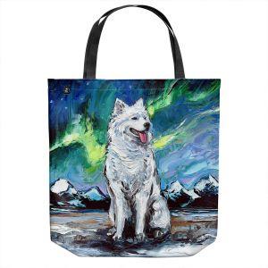 Unique Shoulder Bag Tote Bags   Aja Ann - Samoyed Dog   Starry Night Dog Animal