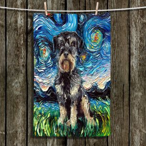 Unique Hanging Tea Towels | Aja Ann - Schnoodle Dog | Starry Night Dog Animal