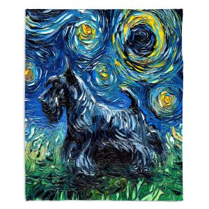 Decorative Fleece Throw Blankets | Aja Ann - Scotty | Starry Night Dog Animal