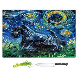 Artistic Kitchen Bar Cutting Boards | Aja Ann - Scotty | Starry Night Dog Animal
