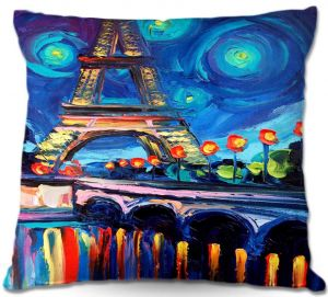 Decorative Outdoor Patio Pillow Cushion | Aja Ann - Seine Paris France Eiffel Tower