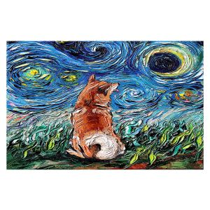 Decorative Floor Covering Mats | Aja Ann - Shibainu Dog | Starry Night Dog Animal