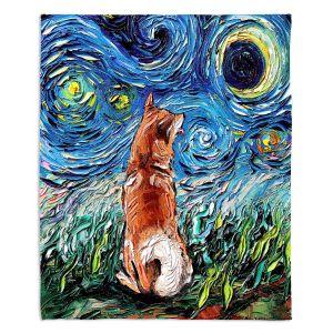 Decorative Fleece Throw Blankets | Aja Ann - Shibainu Dog | Starry Night Dog Animal