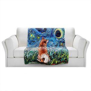Artistic Sherpa Pile Blankets   Aja Ann - Shibainu Dog   Starry Night Dog Animal