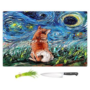 Artistic Kitchen Bar Cutting Boards | Aja Ann - Shibainu Dog | Starry Night Dog Animal