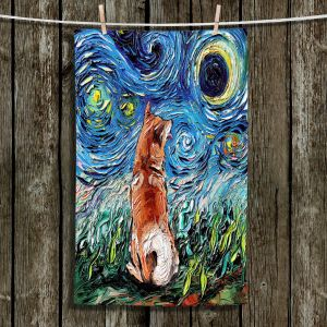Unique Bathroom Towels | Aja Ann - Shibainu Dog | Starry Night Dog Animal