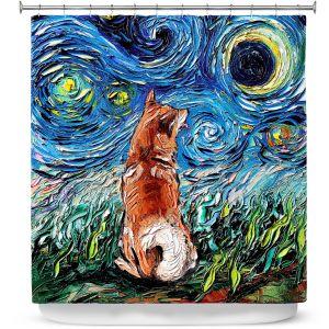 Premium Shower Curtains | Aja Ann - Shibainu Dog | Starry Night Dog Animal
