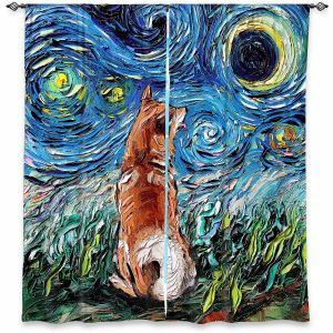 Decorative Window Treatments | Aja Ann - Shibainu Dog | Starry Night Dog Animal