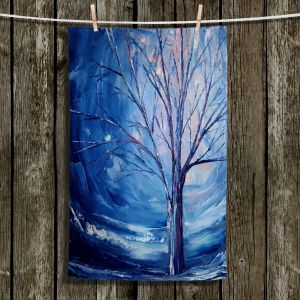 Unique Hanging Tea Towels | Aja Ann - Silent Night | Trees Winter