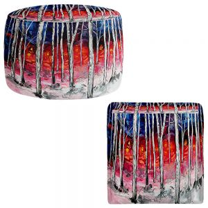 Round and Square Ottoman Foot Stools | Aja Ann - Silver Birch
