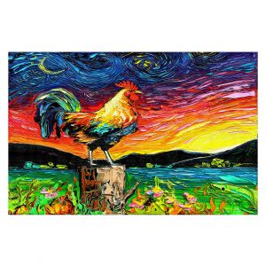 Decorative Floor Covering Mats | Aja Ann - Starry Morning | Sunrise, Rooster, Mountains