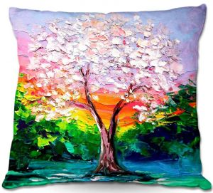 Decorative Outdoor Patio Pillow Cushion   Aja Ann - Story of the Tree L