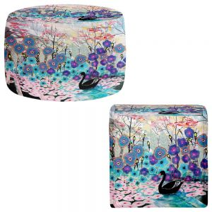 Round and Square Ottoman Foot Stools | Aja Ann - The Black Swan