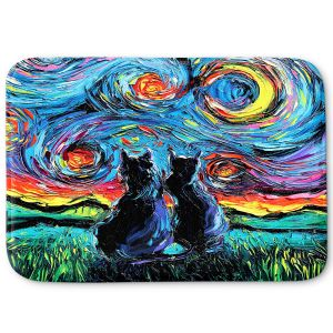 Decorative Bathroom Mats | Aja Ann - van Gogh Cats 1 | Starry Night van Gogh