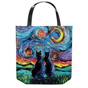 Unique Shoulder Bag Tote Bags | Aja Ann - van Gogh Cats 1 | Starry Night van Gogh