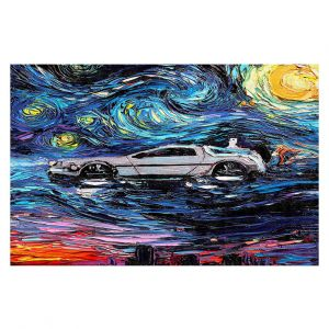 Decorative Floor Covering Mats | Aja Ann - Van Gogh Back to the Future | Artistic Brush Strokes Pop Culture Car DeLorean Time Travel