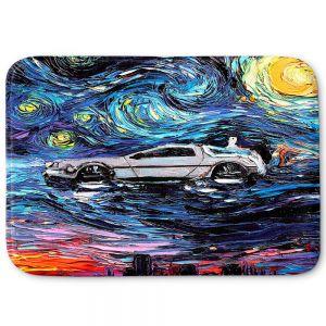 Decorative Bathroom Mats | Aja Ann - Van Gogh Back to the Future | Artistic Brush Strokes Pop Culture Car DeLorean Time Travel