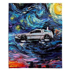Artistic Sherpa Pile Blankets | Aja Ann - Van Gogh Back to the Future | Artistic Brush Strokes Pop Culture Car DeLorean Time Travel