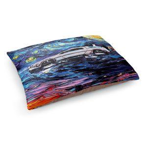 Decorative Dog Pet Beds | Aja Ann - Van Gogh Back to the Future | Artistic Brush Strokes Pop Culture Car DeLorean Time Travel