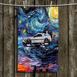 Unique Hanging Tea Towels | Aja Ann - Van Gogh Back to the Future | Artistic Brush Strokes Pop Culture Car DeLorean Time Travel