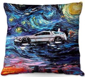 Throw Pillows Decorative Artistic   Aja Ann - Van Gogh Back to the Future   Artistic Brush Strokes Pop Culture Car DeLorean Time Travel