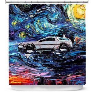 Premium Shower Curtains | Aja Ann - Van Gogh Back to the Future | Artistic Brush Strokes Pop Culture Car DeLorean Time Travel