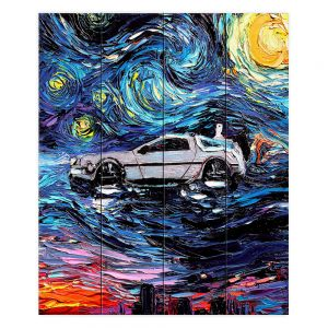 Decorative Wood Plank Wall Art | Aja Ann - Van Gogh Back to the Future | Artistic Brush Strokes Pop Culture Car DeLorean Time Travel