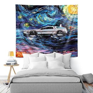 Artistic Wall Tapestry | Aja Ann - Van Gogh Back to the Future | Artistic Brush Strokes Pop Culture Car DeLorean Time Travel