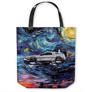 Unique Shoulder Bag Tote Bags | Aja Ann - Van Gogh Back to the Future | Artistic Brush Strokes Pop Culture Car DeLorean Time Travel