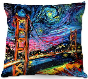 Decorative Outdoor Patio Pillow Cushion | Aja Ann - Van Gogh Golden Gate Bridge | Artistic Brush Strokes California San Francisco